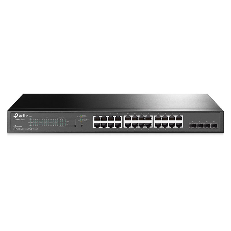 T1600G-28PS,  Switch PoE Inteligente, 24 Puertos Gigabit